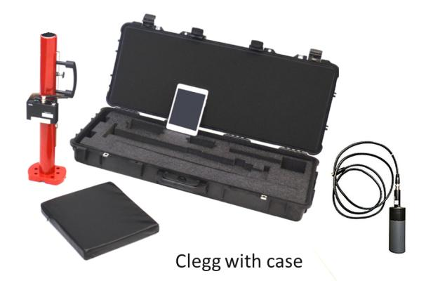 New Clegg Impact Tester / Clegg Decelerometer with Hard Case. New for 2020 - The Clegg Impact tester has a wireless bluetooth sending unit and GPS enabled tablet, data logging and mapping. The NEW PNCLEGG-S-2.25-A- Clegg Impact Tester 2.25 kg model reads out from 0 to 150 Gravities