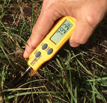 The Turf-Tec Digital Pocket Thermometer is a rugged thermometer with a folding Thermometer and is easy to carry.  It reads the soil temperature within 10 seconds. The unit is very durable with a 3 1/4 inch (9 cm) long probe.
