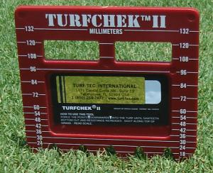Turfchek II - Rough Grass Height Cut Gauge - Millimeter side