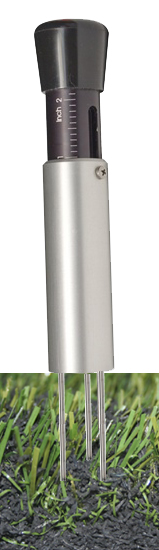 Turf-Tec Professional Model Infill Depth Gauge - Aluminum and Stainless Steel construction - In infill material