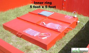 The inner ring of the IN15-W Turf-Tec SDRI Infiltration Rings has a diameters of 5 foot x 5 foot and a overall height of 11 inches tall at its highest point.