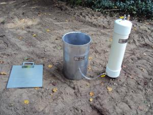 Turf-Tec Heavy Duty 12 Inch Diameter Infiltration Ring shown here with optional driving plate (IN17-W) and optional 10,000 ml Mariotte Tube (IN12A-W)
