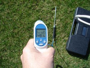 The Turf-Tec Infrared Turf Thermometer with probe is easy to use, and since it does not have to make contact with the turf, it is a quick way to asses turfgrass stress. Using an infrared thermometer will eliminate potential damage and contamination.  The Turf-Tec Infrared Turf Thermometer with probe is easy to use, just pull the trigger, aim the laser and the temperature is displayer on the large, backlit display. This new unit also comes with a temperature probe so you can also test the soil temperature with one compact unit. Unit also comes with a hard plastic protective case.
