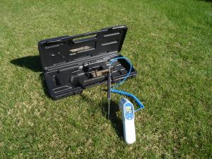 Using an infrared thermometer is an excellent method to check the canopy and soil temperatures in a green.  An infrared thermometer can be used to monitor hot spots on a putting green. During wilt, canopy temperatures rise dramatically and the turf shows classic wilt symptoms such as leaf curling, footprinting, and an off-color appearance. In the early stages of wilt, the canopy temperature increases before any wilt symptoms are visible. An infrared thermometer can be used to check for areas that may be heating up but have not shown any visible symptoms. With this early warning tool, crew members can correct a moisture deficit earlier and reduce stress to the green.