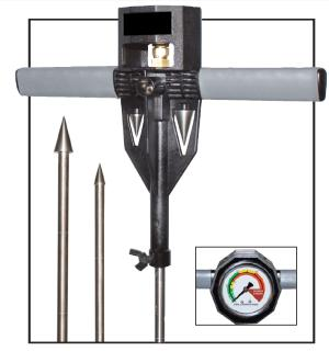Turf-Tec Soil Compaction Tester / Dial Penetrometer shown with both 1/2 inch and 3/4 inch tip and storage area