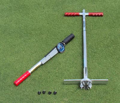The new Turf-Tec Shear Strength Tester also known as a shear vane apparatus in scientific literature is a specially designed tool to test the stability of athletic field turfgrass root systems. In addition, the Turf-Tec Shear Strength Tester can also test the types and depth of cleats that will perform best in your particular turfgrass root system and environment. Knowing the correct cleat to play in will not only insure proper footing during play, but will also reduce slipping and may also create a safer playing environment for athletes.