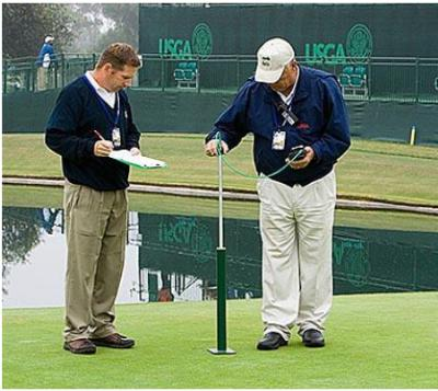 United States Golf Association Agronomist (USGA) using TruFirm before tournament