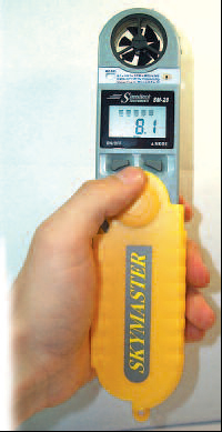 SKY-MASTER WEATHER METER from Turf-Tec. This easy to use, pocket-size weather station features complete wind speed functions, humidity, dew point, altitude, barometric pressure with 16 hour graph, temperature, wind-chill, heat index and includes a severe weather audio alarm.   The unit is also water resistant and closes up into the jack knife style protective case. Since the Sky-Master Wind and Weather Meter also measures the heat index, it will also conform to Sports Turf testing procedures to make sure practices, games and all sporting events can be held safely hot days, especially for football practices.