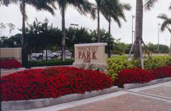 This is the entrance to Pinecrest Park in Miami here the Sports Turf Managers had a meeting on clay renovation for ballfields.