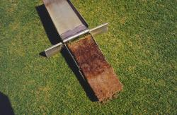Soil profile of a Golf Green that is 20 years old showing the soil profile with the Mascaro Profile Sampler.