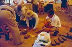 STMA Florida Chapter # 1 meeting at Ft. Lauderdale Stadium, Charlie Selvik, from Turface building a mound with clay bricks.