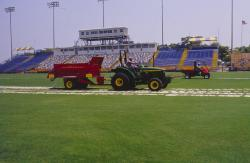 At the STMA Florida Chapter # 1 meeting, we also toured Lockhart Stadium, in Ft. Lauderdale, Florida and saw a laser topdressing demonstration on their sand based field.