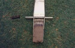 This is the profile of the stadium field at the University of Alabama.  It is a sand based profile amended with Zeolite to improve the CEC.  The sod was sand based sod and the renovation was performed last fall.  The profile is taken with the Mascaro Profile Sampler and the layer seen in the profile is white paint from the hash marks.