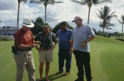 This is Kapolei Golf Course in Kapolei, Hawaii.  Dr. Al Turgeon from Penn State University was inspecting a soil profile along with Andy Meikle, Superintendent, Dave Ringette, County Extension Agent and Warren, Andy's Assistant Superintendent.