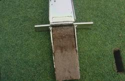 This is a soil profile taken with the Mascaro Profile Sampler of a golf green on Koolau Golf Course, HI.   The turf was also Seashore Paspalum and construction of the greens was USGA sand / peat mix