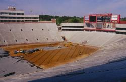 Doak Campbell Stadium at Florida State University, Tallahassee, FL was being renovated with new drain lines, irrigation and a complete new field.  This is the installation of the drain lines and gravel layer.