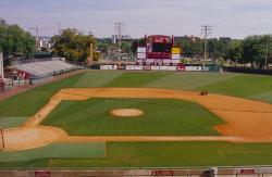 This is inside FSU's new baseball stadium looking out on the field.