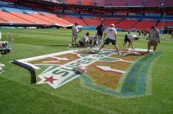 The NFL Field Crew is hand picked by superbowl head grounds keeper George Toma and is comprised of Sports Turf Manager from the NFL and MLB volunteers from all over the country.