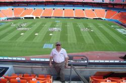 This is me in front of the Superbowl XLI Field at Dolphin Stadium in Miami Florida.  Notice the short sleeve shirt in January, this must be why they have Superbowls in warm climates!