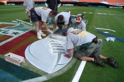 This is the centerfield logo being painting on the Field in preparation for Superbowl XLI