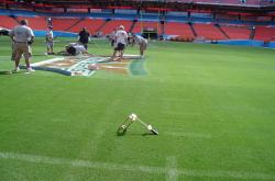 Here is the Toma Shear Strength Tester being used on the Superbowl XLI field to test the shear strength of the newly installed sod.