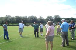 This is one of the Multipurpose Bermudagrass fields at Jacksonville University.  Justin Newell was Director of Facilities & Operations and is speaking to our group.  Andy Sorrow is Sports Turf Manager.