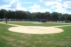 This is the baseball stadium at Jacksonville University. The areas behind home plate had just been renovated and re-sodded.
