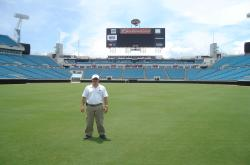 This is John Mascaro on the field at Jacksonville Municipal Stadium, the home field for the Jacksonville Jaguars