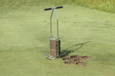 7 Inch Hexagon Turf Plugger use on golf green