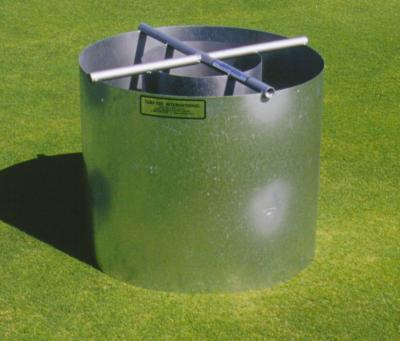 The new Turf-Tec Infiltration Rings have diameters of 12 and 24 Inches (600 MM and 300 MM) and an overall height of 20 inches (500 MM) that match ASTM standards.  These double ring Infiltration rings are double ring for standard testing of soils with a hydraulic conductivity between 1X10-2 cm/s or sand type soils with high infiltration rates.  They match ASTM Standard D 3385-03 which replaced old ASTM D 3385-94. These infiltration rings are ideal for taking ASTM infiltration tests on all areas and match the ASTM 3385 test.