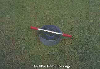 Turf-Tec Infiltration Rings will give field infiltration readings quickly and easily.  Infiltration rate is also a good indication of when it's time to aerify. Baseline Infiltrometer readings will give a good indication of your rate of infiltration.