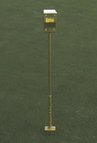 Turf-Tec Moisture Sensor tells when to water.  Specially designed quick depth adjustment from zero to four inches deep. Instant read out dial tells you the percentage of moisture in the soil.  Moisture Meter,  Moisture Meter.
