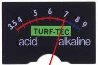 Close up of Turf-Tec pH Meter Face.  Now you can test soil reaction at different levels in the soil profile.