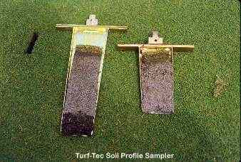The Turf-Tec Soil Profile Sampler will show the soil profile.  The six inch deep unit and twelve inch deep unit are shown here.
